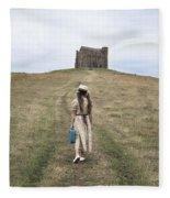 Girl Walks To A Chapel Fleece Blanket