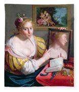 Girl With A Mirror, An Allegory Fleece Blanket