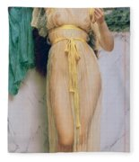 Girl With A Mirror Fleece Blanket