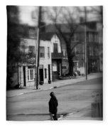 Girl With Dog - Somewhere In America Fleece Blanket