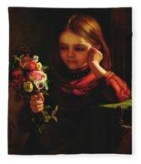 Girl With Flowers Fleece Blanket