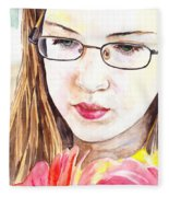 Girl With Flowers Fleece Blanket