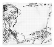 Girl With Laptop  Fleece Blanket