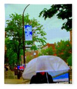 Girl With Large Umbrella Its Raining Its Pouring April Showers Montreal Scenes Carole Spandau Art Fleece Blanket