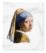 Girl With Pearl Earring Flip Side Fleece Blanket
