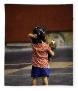 Girl With Toy Dog Fleece Blanket
