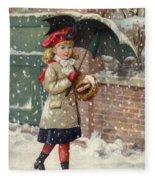Girl With Umbrella In A Snow Shower Fleece Blanket