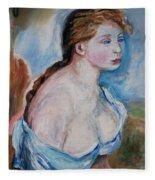 Girl With With Daisies Renoir Fleece Blanket