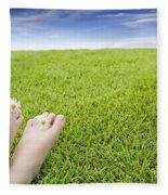 Girls Feet On Grass With Flowers Fleece Blanket