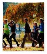 Girls Jogging On An Autumn Day Fleece Blanket