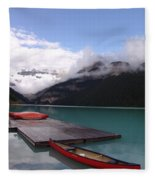 Victoria Glacier Canoe, Lake Louise, Alberta Fleece Blanket
