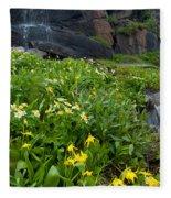 Glacier Lilies And Globeflower Beside A Mountain Stream Fleece Blanket