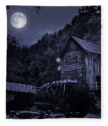 Glade Creek Grist Mill At Night Fleece Blanket