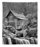 Glade Creek In Black And White Fleece Blanket