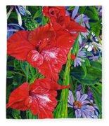 Gladiola And Echinacea Fleece Blanket