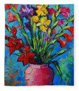 Gladioli In A Vase Fleece Blanket