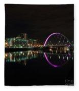 Glasgow Clyde Arc Bridge At Night Fleece Blanket