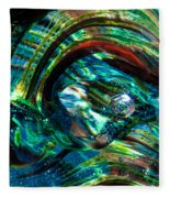 Glass Macro - Blue Green Swirls Fleece Blanket