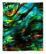 Glass Macro - Greens And Blues Fleece Blanket