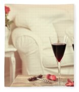 Glasses Of Red Wine Fleece Blanket