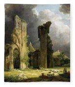 Glastonbury Abbey With The Tor Fleece Blanket