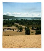 Glen Lake From The Dune Climb Fleece Blanket