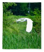 Gliding Egret Fleece Blanket