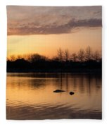 Gloaming - Subtle Pink Lavender And Orange At The Lake Fleece Blanket