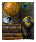 Globes And Old Books Fleece Blanket
