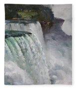 Gloomy Day At Niagara Falls Fleece Blanket