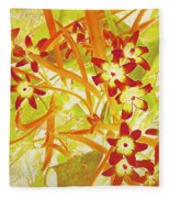 Glory Of The Snow - Lime Green And Orange Fleece Blanket