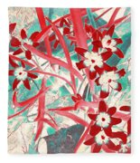 Glory Of The Snow - Red And Turquoise Fleece Blanket