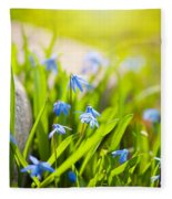 Scilla Siberica Flowerets Named Wood Squill  Fleece Blanket