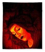 Glowing Botticelli Madonna Fleece Blanket