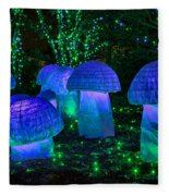Glowing Mushrooms Fleece Blanket