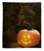 Glowing Pumpkin Fleece Blanket