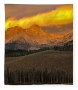 Glowing Sawtooth Mountains Fleece Blanket