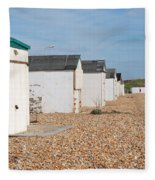 Glyne Gap Beach Huts In Sussex Fleece Blanket