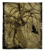 Gnarled And Twisted Tree With Crow Fleece Blanket