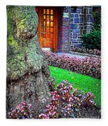 Gnarly Tree With Flowers Fleece Blanket
