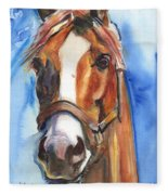 Horse Painting Of California Chrome Go Chrome Fleece Blanket