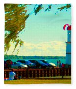 Go Fly A Kite Off A Short Pier Lachine Lighthouse Summer Scene Carole Spandau Montreal Art  Fleece Blanket