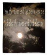 God Bless The Moon Fleece Blanket