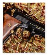 Gold 9mm Beretta With Brass Ammo Fleece Blanket