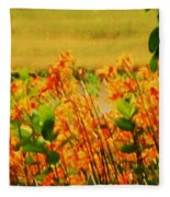 Gold And Orange Landscape Fleece Blanket