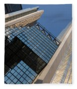 Gold Black And Blue Geometry - Royal Bank Plaza Fleece Blanket