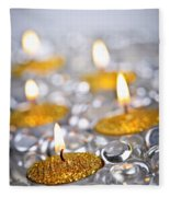 Gold Christmas Candles Fleece Blanket