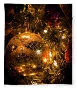Gold Christmas Ornament Fleece Blanket