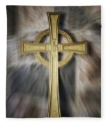 Gold Cross Fleece Blanket