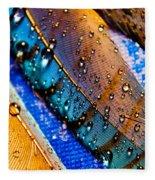 Gold Jay Feathers Fleece Blanket